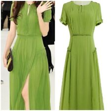 Green Chiffon Bohemian Crepon Floral Ruffle Peplum Hem Pleated  Dress