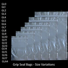 GRIP SEAL BAGS Self Resealable Clear Polythene Poly Plastic Zip Lock *All Sizes*