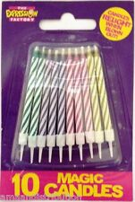 10 MAGIC RELIGHTING OR NEON BIRTHDAY CAKE CANDLES PARTY PARTIES FUN