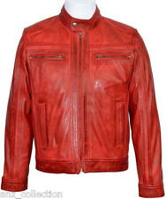 Cage Men's Red WAX Short Bomber Biker Motorcycle Style Premium Leather Jacket