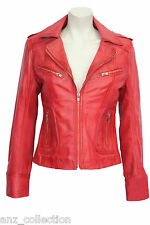 Candice Ladies Red WASHED Biker Motorcycle Style Soft Real Nappa Leather Jacket