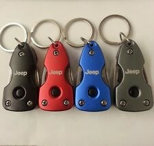 NEW JEEP LOGO MULTI TOOL KEYCHAIN IN  BLUE RED BLACK GRAY