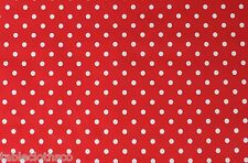 RED POLKA DOTS VINYL PVC OILCLOTH WIPE CLEAN TABLECLOTH CO click for sizes