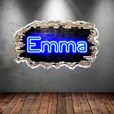 NEON LIGHT CRACKED Wall PERSONALISED GRAFFITI NAME UV Wall Art Sticker Graphic