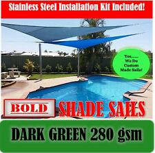 4 x 4 Metre Dark Green Square 280 gsm Sun Shade Sail with S/S GR316 Mounting Kit