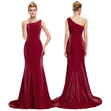 Mermaid One-Shoulder Wedding Satin Bridesmaid Gown Evening Prom Party Dress New