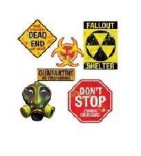 Zombie Doomsday Nuclear Apocalypse Signs Quarantine Decoration Party Halloween