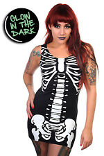 Glow in The Dark Skeleton Ribcage Gothic Punk Long Tank Top By Banned Apparel