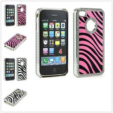 Crystal Bling Zebra Diamond Case Cover for Apple iPhone 4 4S Screen Protector