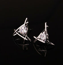 Rhinestone Square Stud Elegant Triangle Hot Women Ear Lovely Earrings Crystal
