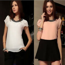 Women Short Sleeve Plus Size Chiffon Casual Blouses Tops T-Shirt Summer New
