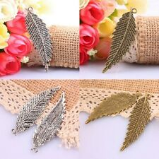 8Pc Tibetan Silver/Bronze Tree Leaves Leaf Plants Charms Pendant Beads Findings
