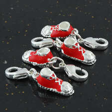 ENAMEL RED 3D SPORTING SHOES DANGLE LOBSTER CLASPS BEADS CHARMS JEWELRY FINDINGS