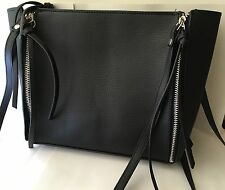 Good Quality Super Soft Black Zipped Crossbody Shoulder Faux Leather Handbag