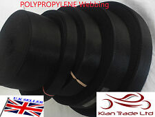 BLACK 20 25 32 38 50mm POLYPROPYLENE WEBBING STRAPPING, BAGS, STRAPS, WEAVE