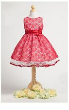 New Red Polylace Flower Girls Dress Easter Christmas Graduation Party KC1221