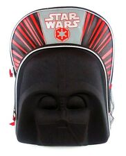 "STAR WARS DARTH VADER 16"" Molded Face/Mask Multi-Pocket School Backpack NWT  $30"