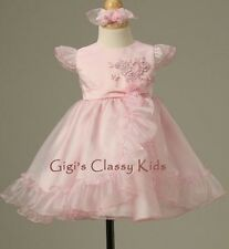 New Baby Girls Pink Dress Pageant Easter Christmas Flower Party Fancy Holiday