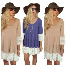 Hot Women Loose Short Sleeve Shirt Floral Tunic Tops Blouse Lace Mini Dresses