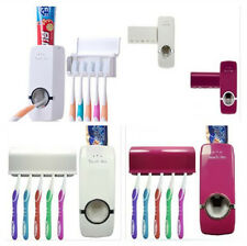 Wall Mount Auto Stand Toothbrush Holder +5 Rack Toothpaste Dispenser Set