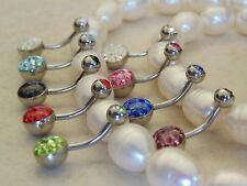 Austrian Crystal Paved Ferido Dome Bottom and Gem Set Top Ball Navel/Belly Ring.
