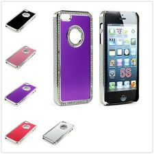 Luxury Bling Diamond Brushed Aluminum Chrome Case Cover for Apple iPhone 5 5S
