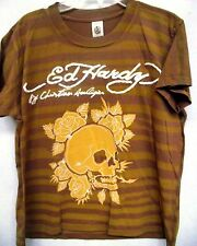 Ed Hardy Boys  SKULL  Patch   tee shirt premium shirt tee shirt top new BROWN