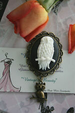 Vintage Owl Cameo Brooch Pin or Large Wise Old Owl Pendant or Brooch Gift