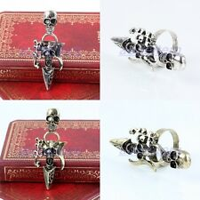 Tibetan Silver/Bronze Skull Skeleton Head Dagger Adjustable Finger Rings Jewelry