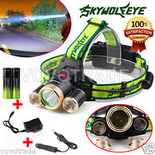 10000 Lumens Headlamp CREE XM-L 3 x T6 LED Headlight 18650   Charger   Batteries