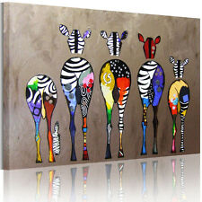 Modern Abstract Canvas Painting Prints Multicolored Zebra Home Decor Wall Art