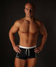 Mens Swimming Trunks - Black & White Striped