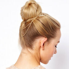 Fashion New Women's Metal Tassel Leaf Comb Cuff Chain Jewelry Headband Hair Band