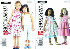 EASY BUTTERICK SEE AND SEW SEWING PATTERN - GIRLS DRESSES TOP TROUSERS OUTFITS