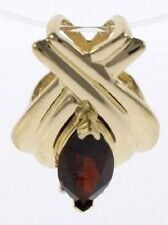 Ladies Genuine Garnet and Diamond Slide Pendant in 14 Kt Yellow Gold