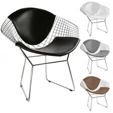Diamond Shaped Chair Wire Mesh Chair Modern Mid Century Accent Lounge Chair