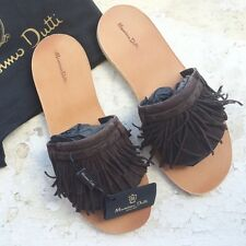 NEW MASSIMO DUTTI (ZARA GROUP) BROWN LEATHER FRINGED FLAT SANDALS SHOES