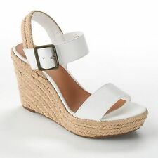 Sonoma White Espadrilles Sandals Shoes Platform Wedge Heels