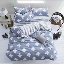 New Cross Single Double Queen King Size Bed Pillowcase Quilt Duvet Cover Set