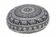 "Indian Elephant Mandala Floor Cushion Cover 32"" Ottoman Round Pillow with Insert"