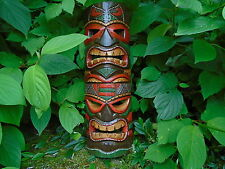 Fair trade Double Tiki mask wall hanging hand painted carved wall mask 40cm