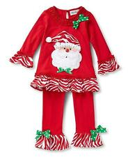 Rare Editions Christmas Santa Outfit Baby Girls Holiday Red Top Legging Set New