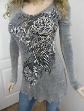 Vocal Charcoal Gray Mineral Wash Gold Foil Wings Crystals Tunic Shirt S M  XL