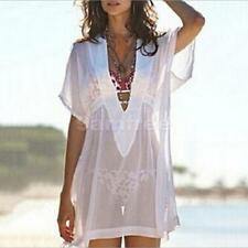 Sexy Plunging Neck Short Sleeve White See-Through Chiffon Cover Up for Women