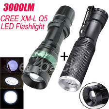 2PC 3000LM CREE XM-L Q5 LED Zoomable Flashlight Adjustable Focus Torch Lamp lot