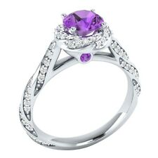 1.20 ct Purple  Amethyst & White Sapphire Solid Gold Wedding Engagement Ring