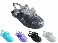 NEW LADIES WOMEN SUMMER BEACH CASUAL RETRO BOW JELLY SHOE SANDAL SIZE 3 - 8
