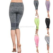 Womens High Waist Fitness YOGA Sport Pants Cropped Stretch Leggings Trousers