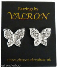 SILVER SPARKLE BUTTERLY SHAPE EARRINGS EITHER CLIP ON MAGNETIC OR STUD