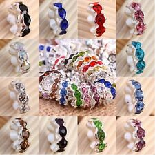 Crystal Rhinestone 4x10mm Flower Shape Silver Loose Spacer Beads Jewelry Finding